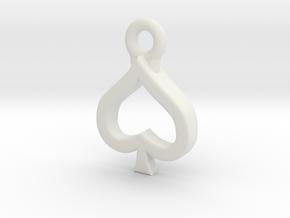 Spade Charm / Pendant / Trinket in White Natural Versatile Plastic