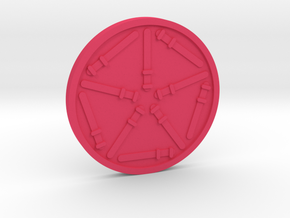 Ten of Wands Coin in Pink Processed Versatile Plastic