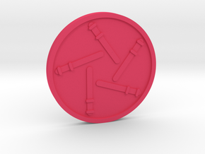 Five of Wand Coin in Pink Processed Versatile Plastic