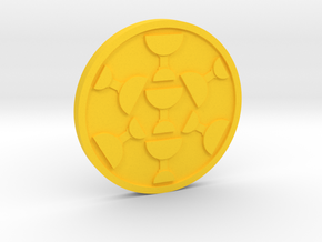 Seven of Cups Coin in Yellow Processed Versatile Plastic