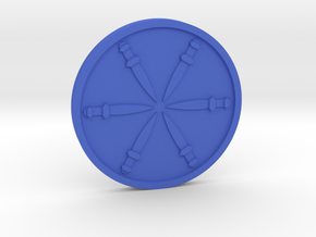 Six of Swords Coin in Blue Processed Versatile Plastic