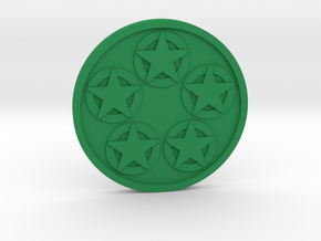 Five of Pentacles Coin in Green Processed Versatile Plastic