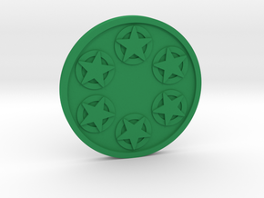 Six of Pentacles Coin in Green Processed Versatile Plastic