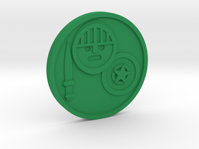 Knight of Pentacles Coin in Green Processed Versatile Plastic