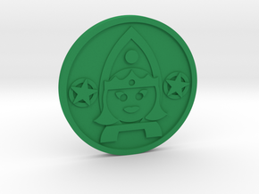 Queen of Pentacles Coin in Green Processed Versatile Plastic