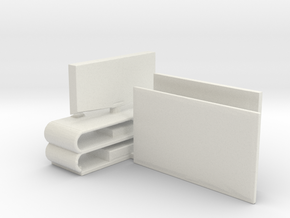 HO Scale Flat Screen TVs in White Natural Versatile Plastic