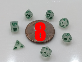 8x Tiny Polyhedral Dice Set, V3 (1.25x Scale) in Smoothest Fine Detail Plastic