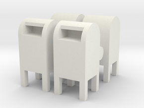 USPS Mailbox (x4) 1/76 in White Natural Versatile Plastic
