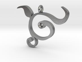Organic Swirl Leaf Pendant in Natural Silver