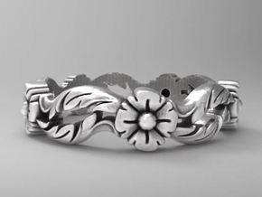 Antique design floral  band size 6.5 in Natural Silver