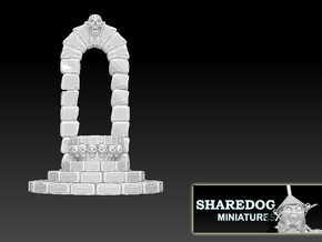 Display Base: Skull Altar and Arch in White Natural Versatile Plastic