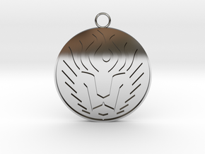 Lion Head Pendant in Fine Detail Polished Silver