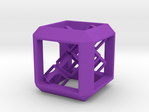 SCULPTURE Cube (30 mm) with 3d-Cross inside in Purple Strong & Flexible Polished