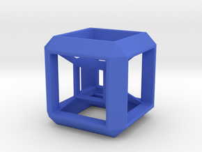 SCULPTURE: HyperCube Stand for 40mm 3d-Cross in Blue Processed Versatile Plastic