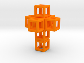 SCULPTURE Cross 40 mm Fits in HyperCube Stand  in Orange Processed Versatile Plastic
