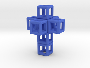 SCULPTURE: Cross 33 mm fits in Small HyperCube in Blue Strong & Flexible Polished