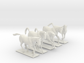 Horses for 28mm miniature in White Natural Versatile Plastic