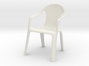 Plastic Chair 01 . 1:24 Scale in White Natural Versatile Plastic