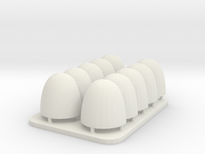 V6 Space Knight Smooth Blank Shoulder Pads in White Natural Versatile Plastic