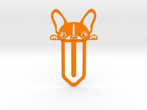 Cute Bulldog Bookmark in Orange Processed Versatile Plastic