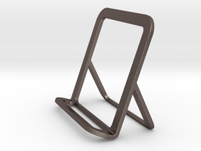 Cell Phone Smart Phone Stand Holder Android Iphone in Polished Bronzed Silver Steel