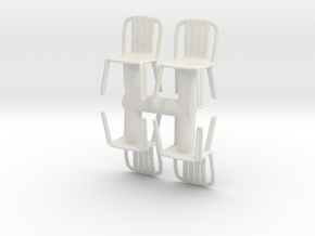 Plastic Chair (x4) 1/48 in White Natural Versatile Plastic