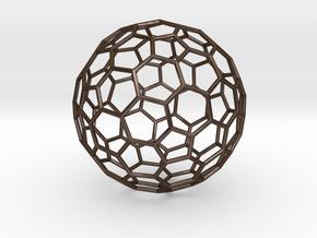 Goldberg Polyhedron[2,1] in Polished Bronze Steel