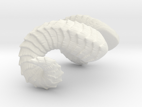 "Small Curled Horns | ""Laura"" in White Natural Versatile Plastic: Medium"