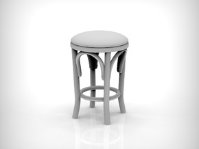 Stool 02. 1:12 Scale x2 Units in Gray PA12