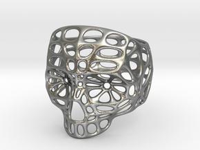 Hollow Skull - Size 10 (inner diameter = 19.76 mm) in Natural Silver