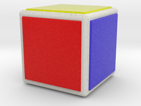 0844 Cube (Faces&full color, 5 cm) in Natural Full Color Sandstone