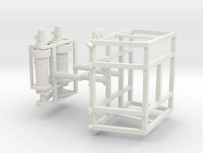 1/50th Oilfield Heavy Haul Double Drum Winch guard in White Natural Versatile Plastic