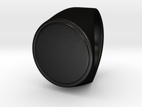 Signe  -  Unique US 6 Small Band Signet Ring in Matte Black Steel