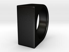 Signe Unique V - US 6  - Signet Ring in Matte Black Steel