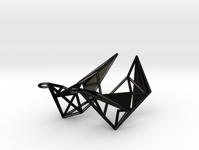 Earring_Sankaku in Matte Black Steel