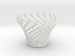Swirly Fun Egg Cup in White Natural Versatile Plastic