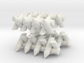 Spiked Barricade (x4) 1/160 in White Natural Versatile Plastic