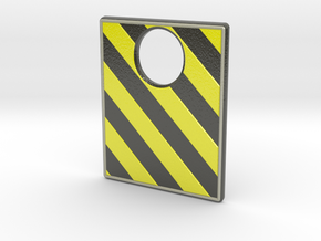 Pinball Plunger Plate - Hazard Tape - mirrored in Glossy Full Color Sandstone