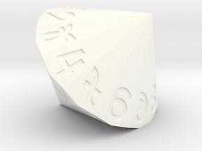 d26 Dice (Argam, Bigger) in White Processed Versatile Plastic