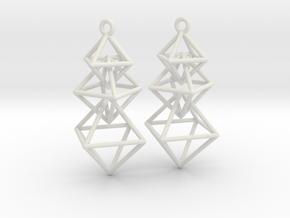 Dangling Octahedra Earrings in White Natural Versatile Plastic