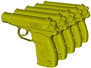 1/12 scale USSR KGB Makarov pistols x 5 in Smooth Fine Detail Plastic