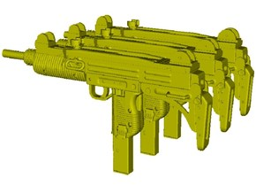 1/12 scale IMI Uzi submachineguns x 3 in Smooth Fine Detail Plastic