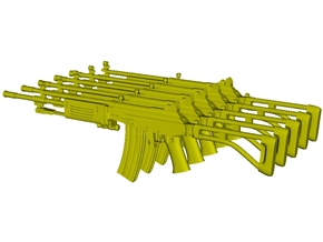 1/12 scale IMI Galil ARM rifles x 5 in Smooth Fine Detail Plastic