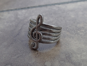 Treble Clef Ring in Polished Nickel Steel