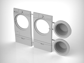 Washer & Dryer Set 01. 1:24 Scale  in White Natural Versatile Plastic
