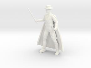 Zorro with Cape in White Processed Versatile Plastic