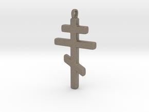 Byzantine Cross in Matte Bronzed-Silver Steel