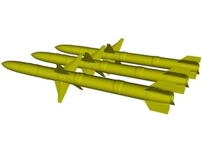 1/18 scale Raytheon AGM-88A HARM missiles x 3 in Smooth Fine Detail Plastic