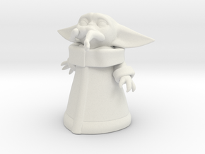 Baby Yoda Eats Frog (50mm) in White Natural Versatile Plastic