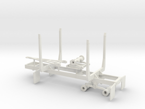 1/50th Mule Train tandem axle 20' log trailer in White Natural Versatile Plastic